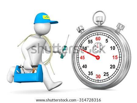 Running electrician with stopwatch on the white. 3d illustration.  - stock photo