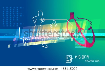 Running Excercise with Heartbeat - Stock Image