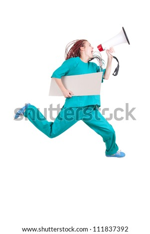 running female doctor with megaphone and blank banner, full length, white background - stock photo