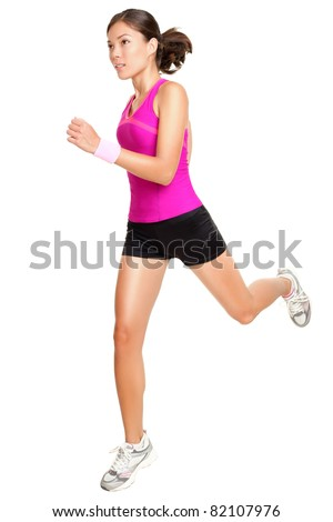 Running fitness woman isolated. Female runner in sporty pink fitness outfit jogging isolated on white background. Beautiful mixed race Asian Caucasian fitness model training. - stock photo