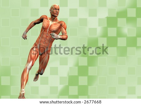 running human male on green checkered background - stock photo