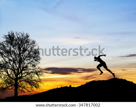 running in the mountain - stock photo