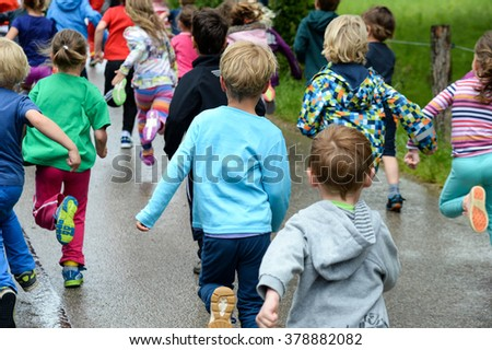 Running kids - stock photo