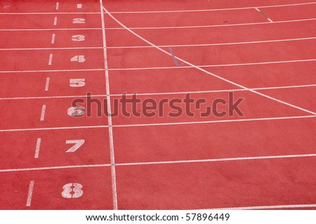running lane in red color - stock photo