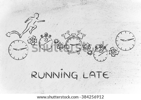 running late: man running on clocks, stopwatches, alarms & gearwheels