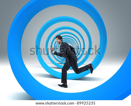 running man and 3d spiral - stock photo