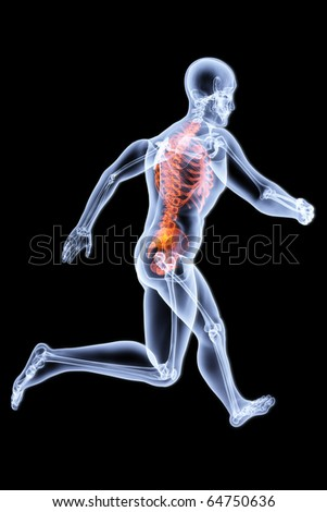 Running Man by X-rays. bone torso are highlighted in red. - stock photo