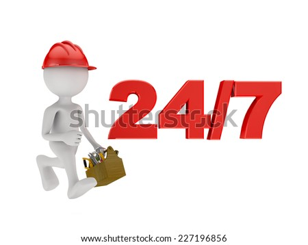 running man in a red helmet with tool box near the inscription 24/7 - stock photo