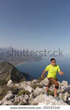 Running man in the summer in a beautiful location.