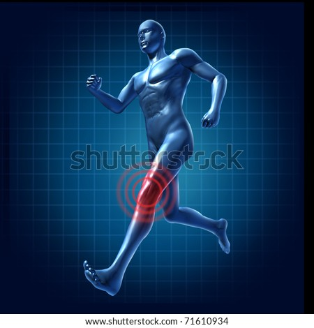Running man with knee pain and injury representing a medical symbol of health - stock photo