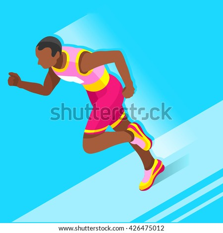 Running 100 Metres Dash Athletics 2016 Summer Games.Speed Concept.3D Isometric Athlete.Sport of Athletics.Sporting Competition Race Runner.Sport Infographic Track Field olympics Illustration. - stock photo