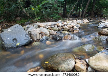 running of water stream from waterfall in tropical rain forest