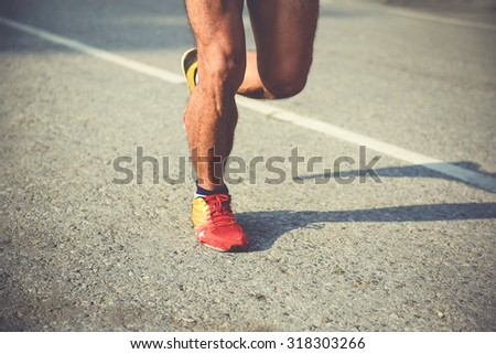 running on road,Photo closeup