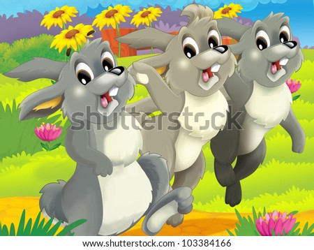 running rabbits - stock photo