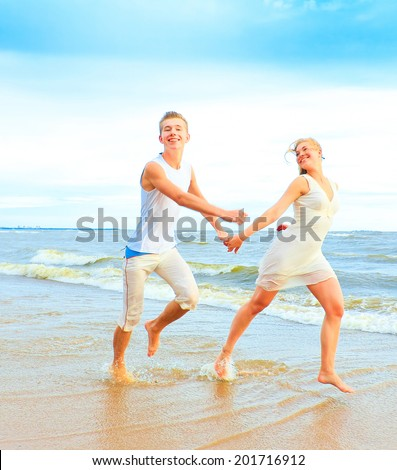 Running Relationship Couple  - stock photo