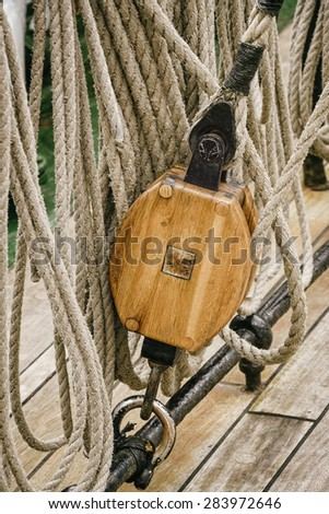 Running Rigging Alongside The Sailing Ship - stock photo