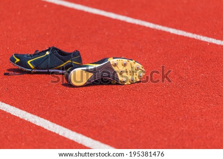 running shoes  for men, sports background - stock photo