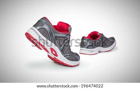 Running shoes in motion