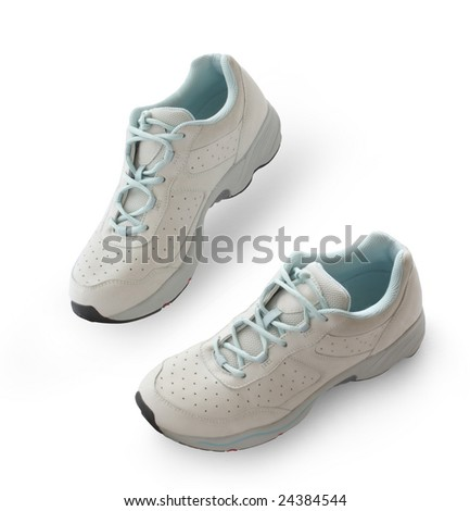RUNNING SHOES, NEW, IN WHITE BACKGROUND - stock photo