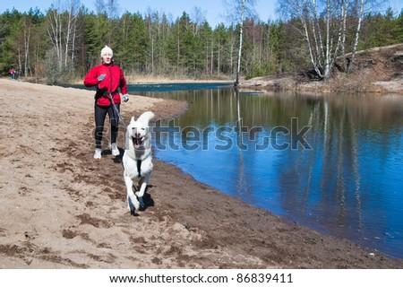 Running the sports woman with a dog - stock photo
