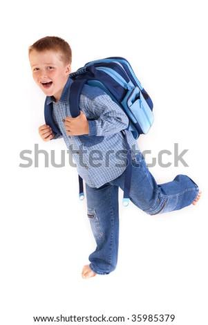 running to school - studio photo - stock photo