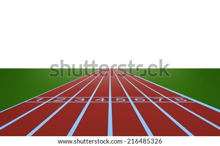 Running track and start position on white background - stock photo