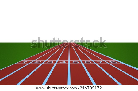 Running track and start position on white background. - stock photo