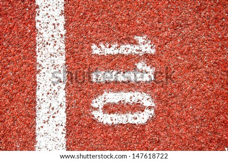 Running track at one hundred and ten meter  - stock photo