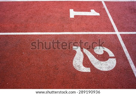 Running Track, Athletics Track Lane Numbers - stock photo