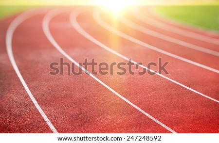 running track for athletics and competition - stock photo