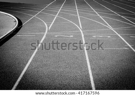 Running track for the athletes background. Black and white