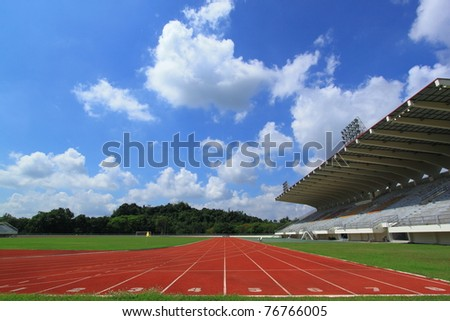 running track of a sports stadium - stock photo
