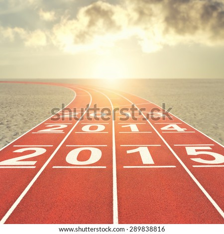 Running track with date in desert - stock photo