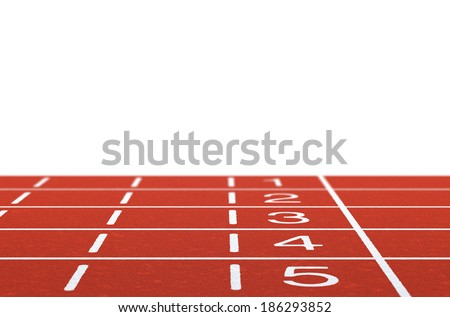 Running track with layout on white background  - stock photo