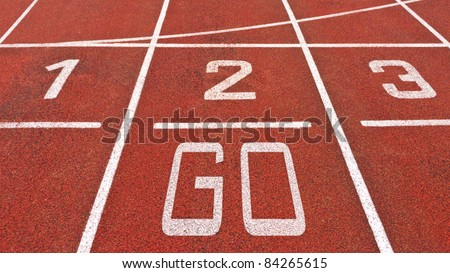 Running track with numbers and go displayed - stock photo