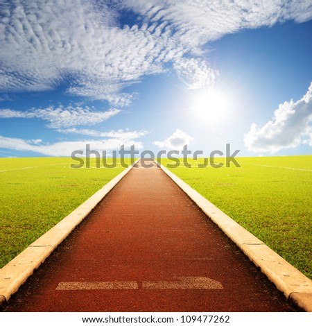 Running track with one lanes with sky cloud
