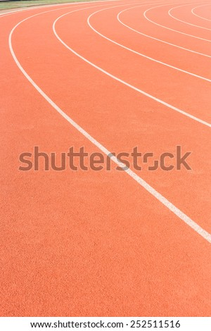 Running track with white stripe for athletics