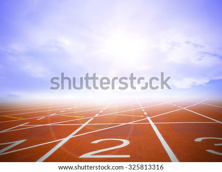 Running track witjh The sky and clouds in the concept that at the beginning. - stock photo
