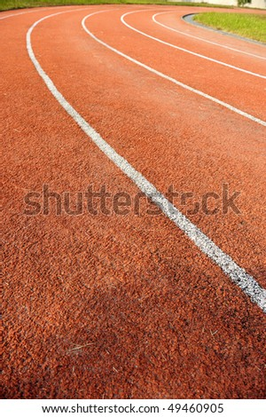 Running tracks in a school - stock photo