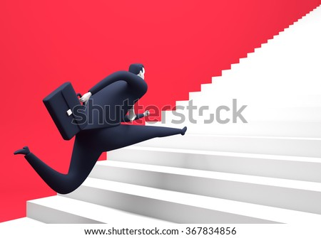 Running up the stairs. Business illustration - stock photo