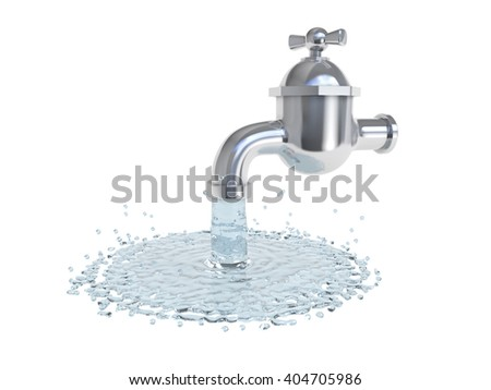 Running water from faucet (3d illustration)