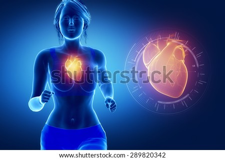 Running woman focused on heart - stock photo
