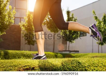 Running woman. half body photo detail  - stock photo