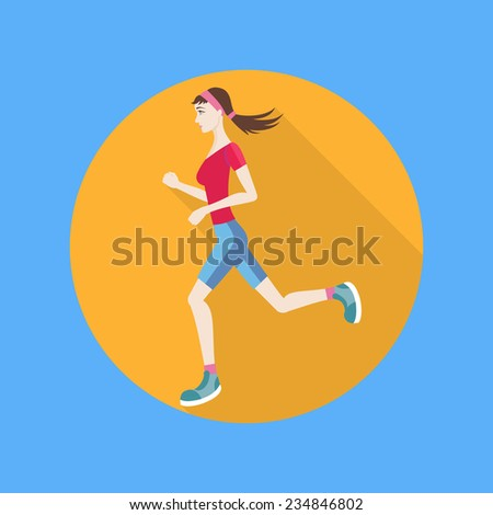 Running woman in flat design style. Keeping fit exercises and jogging. Raster version - stock photo