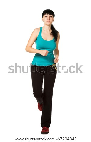 running woman isolated on the white background