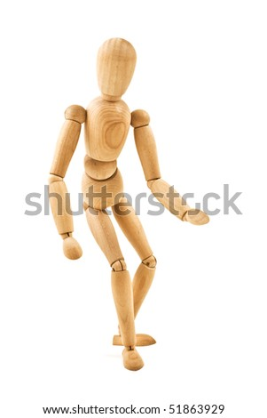 running  wooden mannequin isolated on white background close up