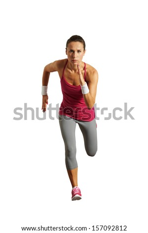 running young woman isolated on white background - stock photo