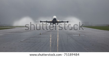 runway, airplane, aviation, airline, plane, aircraft, airport, boeing, 747 - stock photo