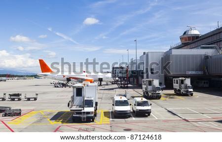 Runway in Geneva Airport - stock photo