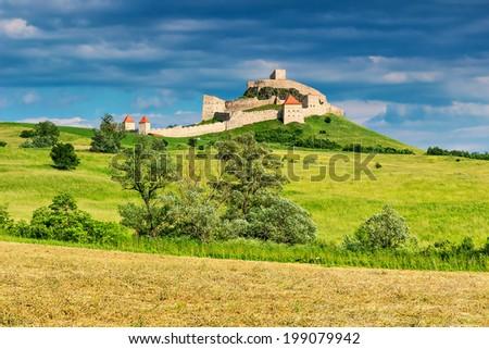 Rupea fortress,fortification on a hill,Brasov,Transylvania,Romania,Europe - stock photo